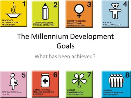 The Millennium Development Goals What has been achieved?