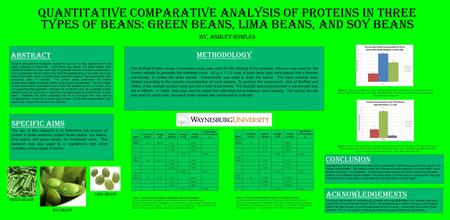 Abstract Quantitative Comparative Analysis of Proteins in three types of Beans: Green Beans, Lima Beans, and Soy Beans By, Ashley Rowles Bean: Correction.