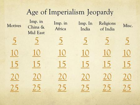 Age of Imperialism Jeopardy Motives Imp. in China & Mid East Imp. in Africa Imp. In India Religions of India Misc. 5 55 5 5 5 10 15 20 25.