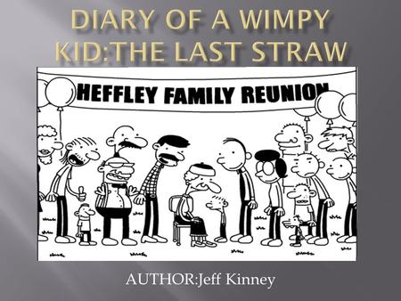 AUTHOR:Jeff Kinney. The setting is in their Middle School,Greg's house,the Roll-a-Round is where they are going to go to roller skate,the church,and the.