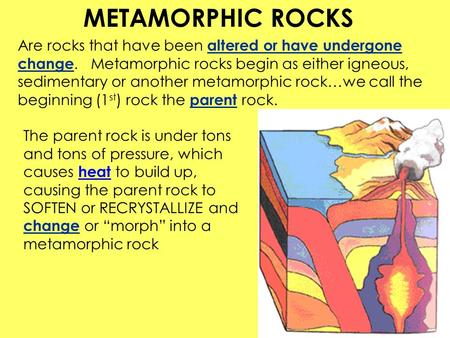 Are rocks that have been altered or have undergone change.Metamorphic rocks begin as either igneous, sedimentary or another metamorphic rock…we call the.