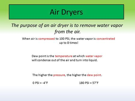 Air Dryers The purpose of an air dryer is to remove water vapor from the air. The higher the pressure, the higher the dew point. Dew point is the temperature.