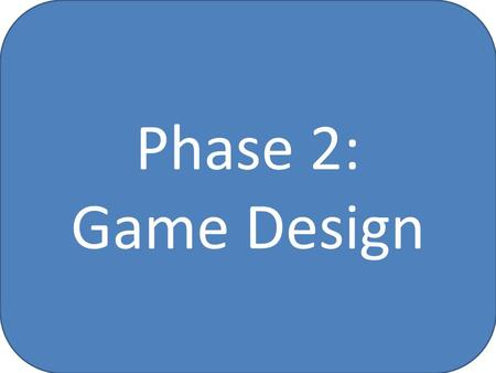 Phase 2: Game Design. Phase 2: Game Design Outcomes (Slide 1) I can research and develop a specification for my game, including: – The target audience;