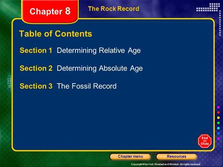 Copyright © by Holt, Rinehart and Winston. All rights reserved. ResourcesChapter menu The Rock Record Chapter 8 Table of Contents Section 1 Determining.