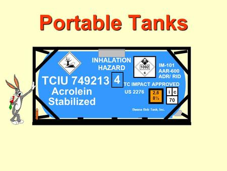 Portable Tanks ACROLEIN INHIBITED INHALATION HAZARD IM-101 AAR-600 Bwana Bob Tank, Inc. Acrolein Stabilized 70 ci ADR/ RID TC IMPACT APPROVED 2,6 8½ US.