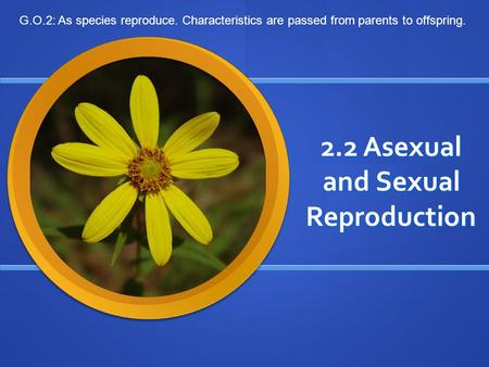 2.2 Asexual and Sexual Reproduction G.O.2: As species reproduce. Characteristics are passed from parents to offspring.