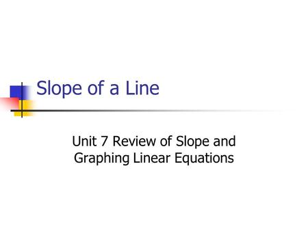 Slope of a Line Unit 7 Review of Slope and Graphing Linear Equations.