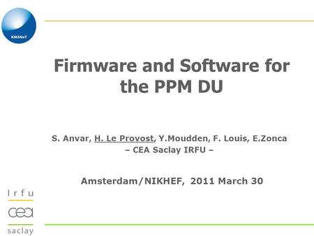 Firmware and Software for the PPM DU S. Anvar, H. Le Provost, Y.Moudden, F. Louis, E.Zonca – CEA Saclay IRFU – Amsterdam/NIKHEF, 2011 March 30.