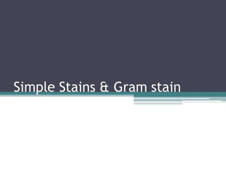 Simple Stains & Gram stain. Making a smear 1. clean the slide - Take slide out of beaker, and wash with detergent - Rinse really well, and clean with.