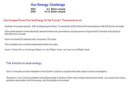 Our Energy Challenge 2003 6.3 Billion people 2050 10-12 Billion people Can Nuclear Power Provide Energy for the Future? The answer is no! Number of nuclear.