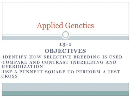 13-1 OBJECTIVES IDENTIFY HOW SELECTIVE BREEDING IS USED COMPARE AND CONTRAST INBREEDING AND HYBRIDIZATION USE A PUNNETT SQUARE TO PERFORM A TEST CROSS.