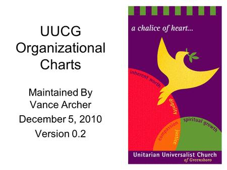 UUCG Organizational Charts Maintained By Vance Archer December 5, 2010 Version 0.2.