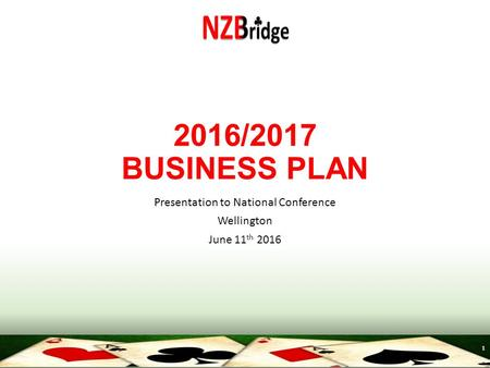 1 2016/2017 BUSINESS PLAN Presentation to National Conference Wellington June 11 th 2016.