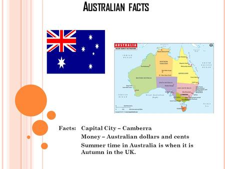 A USTRALIAN FACTS Facts: Capital City – Camberra Money – Australian dollars and cents Summer time in Australia is when it is Autumn in the UK.