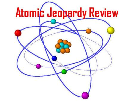 Atomic Jeopardy Review. Element Symbols Atomic Particles Atomic Structure The Periodic Table FamiliesAtoms Elements Compounds Molecules & Mixtures Smorgas.