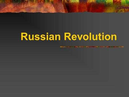 "Russian Revolution. Opening Focus Assignments 1/9 ""Faults of WWI Peace Treaty"" 1/10 ""WWI and changing values"" 1/11 ""Views of the War"" 1/14 ""Lost Generation"""