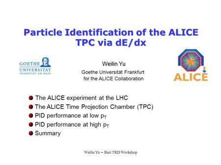 Particle Identification of the ALICE TPC via dE/dx