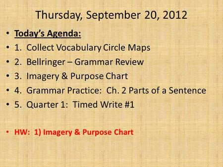 Thursday, September 20, 2012 Today's Agenda: 1. Collect Vocabulary Circle Maps 2. Bellringer – Grammar Review 3. Imagery & Purpose Chart 4. Grammar Practice: