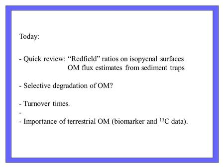 "Today: - Quick review: ""Redfield"" ratios on isopycnal surfaces OM flux estimates from sediment traps - Selective degradation of OM? - Turnover times. -"