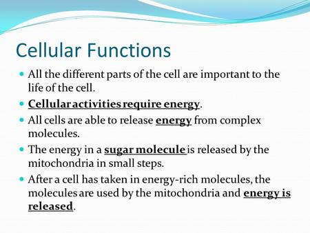 Cellular Functions All the different parts of the cell are important to the life of the cell. Cellular activities require energy. All cells are able to.