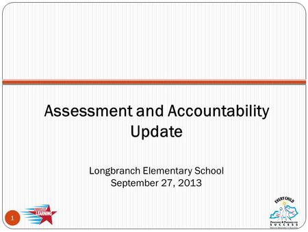 Assessment and Accountability Update Longbranch Elementary School September 27, 2013 1.