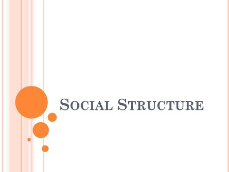 S OCIAL S TRUCTURE. Building Blocks of Social Structure.