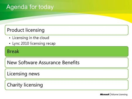 Product licensing Licensing in the cloud Lync 2010 licensing recap BreakNew Software Assurance BenefitsLicensing newsCharity licensing.