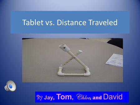 Tablet vs. Distance Traveled By Jay, Tom, Chloe, and David.