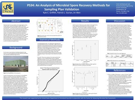 PS34: An Analysis of Microbial Spore Recovery Methods for Sampling Plan Validation Kyle C. Griffith, Patrick L. Gurian, Jin Wen PS34: An Analysis of Microbial.