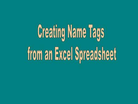 Instructions: 1) Complete excel file and close 2)Open word document 3) Click on tools 4) Click on letters and headings 5) Click on mail merge.