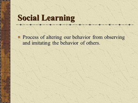 Social Learning Process of altering our behavior from observing and imitating the behavior of others.