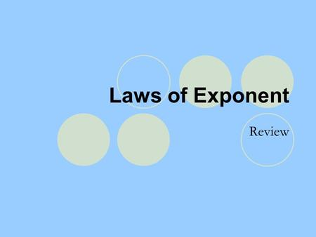 Laws of Exponent Review. Laws of Exponent Law of Zero Exponent a º = 1 Law of Negative Exponent a -n = 1/ a n ; 1/ a -n = a n Law of Multiplying Powers.