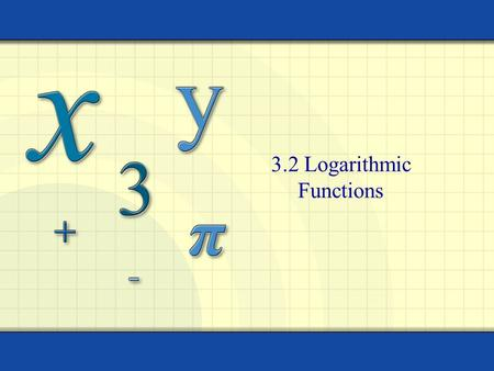 3.2 Logarithmic Functions. Copyright © by Houghton Mifflin Company, Inc. All rights reserved. 2 Intro Solving for an answer Solving for a baseSolving.