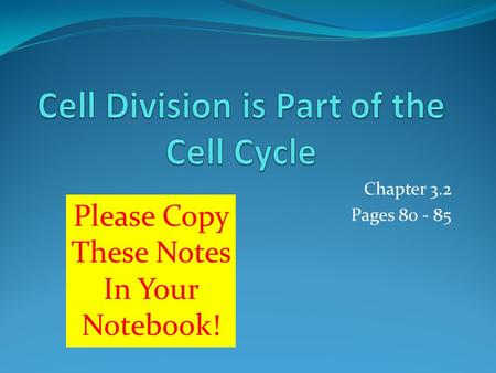 Chapter 3.2 Pages 80 - 85 Please Copy These Notes In Your Notebook!