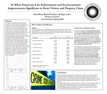 To What Extent are Law Enforcement and Socioeconomic Improvements Significant to Deter Violent and Property Crime Chowdhury Khalid Farabee and Papa Loum.