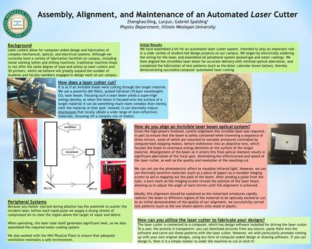 Assembly, Alignment, and Maintenance of an Automated Laser Cutter Zhenghao Ding, Lunjun, Gabriel Spalding* Physics Department, Illinois Wesleyan University.