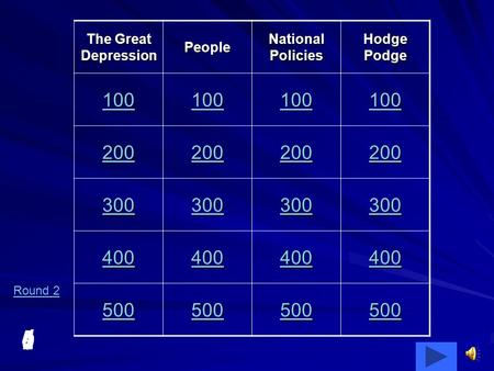 5 4 3210 The Great Depression People National Policies Hodge Podge 100 200 300 400 500 Round 2.