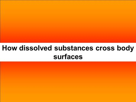 How dissolved substances cross body surfaces. Body surfaceDissolved substances Small intestine, via villi, to blood. Alveoli to blood and vice versa.
