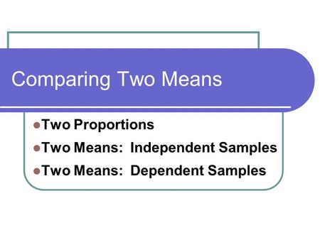 Comparing Two Means Two Proportions Two Means: Independent Samples Two Means: Dependent Samples.