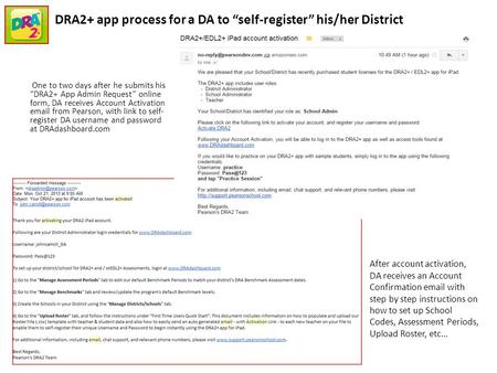 "One to two days after he submits his ""DRA2+ App Admin Request"" online form, DA receives Account Activation email from Pearson, with link to self- register."