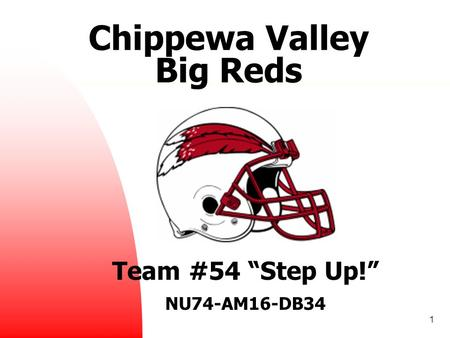 "1 Chippewa Valley Big Reds Team #54 ""Step Up!"" NU74-AM16-DB34."