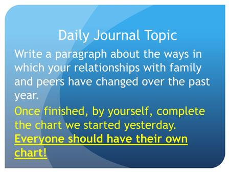 Daily Journal Topic Write a paragraph about the ways in which your relationships with family and peers have changed over the past year. Once finished,