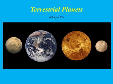 Terrestrial Planets (Chapter 17). Student Learning Objectives Identify & describe each Terrestrial Planet Compare & contrast the Terrestrial planets with.