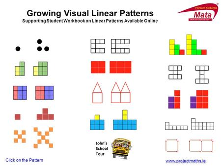Www.projectmaths.ie Click on the Pattern Growing Visual Linear Patterns Supporting Student Workbook on Linear Patterns Available Online.