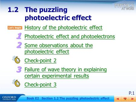 P.1 Book E2 Section 1.2 The puzzling photoelectric effect History of the photoelectric effect Photoelectric effect and photoelectrons Some observations.