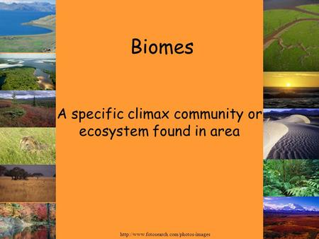 Biomes A specific climax community or ecosystem found in area