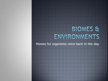 Homes for organisms since back in the day..  SWBAT discern between differing types of terrestrial biomes and aquatic environments, describe their general.
