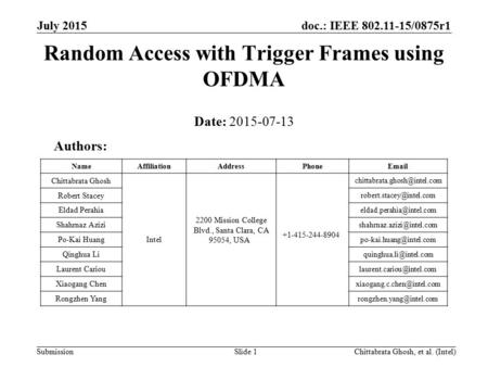 Doc.: IEEE 802.11-15/0875r1 Submission July 2015 Chittabrata Ghosh, et al. (Intel)Slide 1 Random Access with Trigger Frames using OFDMA Date: 2015-07-13.