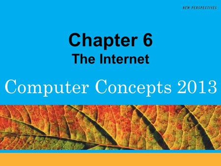 Computer Concepts 2013 Chapter 6 The Internet. 6 Chapter Contents  Section A: Internet Technology  Section B: Fixed Internet Access  Section C: Portable.