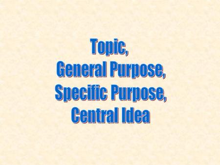 Any general topic will do…no need for specifics yet. To inform, to persuade, to entertain…